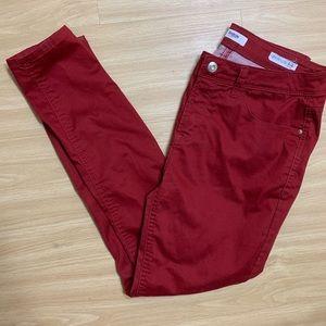 KENSIE deep red skinny ankle jeans size 8/29